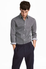 Stretch Shirt Slim fit - Dark blue/white striped - Men | H&M CA 1