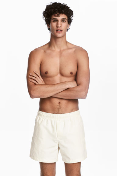 Short swim shorts - Natural white - Men | H&M CN 1