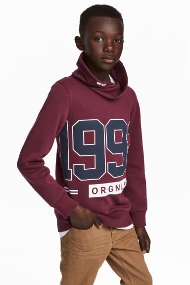 Chimney-collar Sweatshirt - Burgundy - Kids | H&M CA 1