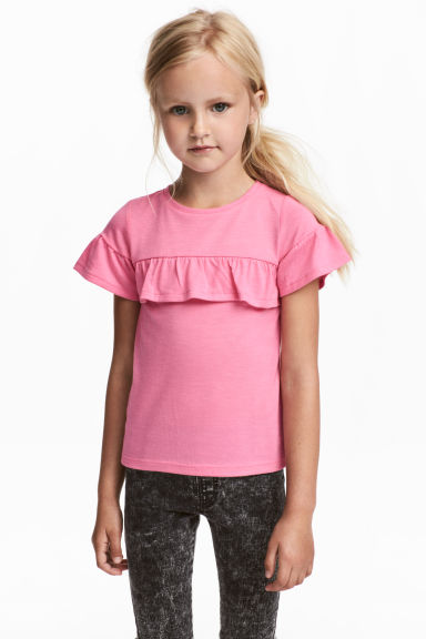 Frilled-trimmed top - Pink - Kids | H&M 1