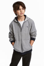 Hooded jacket - Dark blue/Narrow striped - Kids | H&M 1