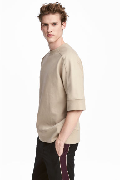 Sweat-shirt à manches courtes - Beige - HOMME | H&M BE