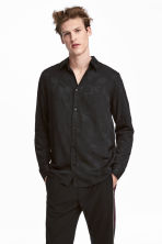 Jacquard-weave shirt - Black - Men | H&M 1