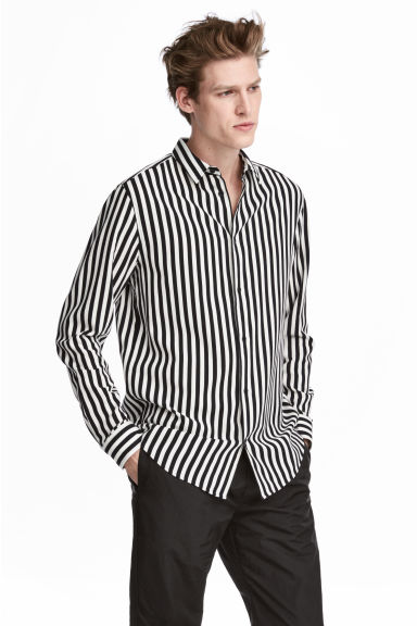 Striped shirt - Black/White striped - Men | H&M GB