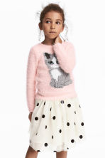 Fluffy Sweater - Light pink/cat - Kids | H&M CA 1