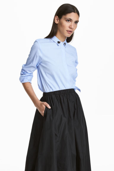 Shirt with appliqués - Light blue/White striped - Ladies | H&M CN 1