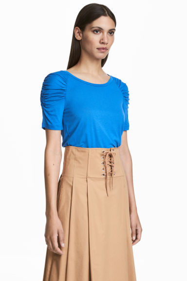 Top with puff sleeves - Blue - Ladies | H&M CN