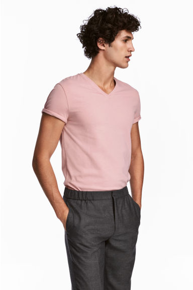 V-neck T-shirt Slim fit - Pink -  | H&M
