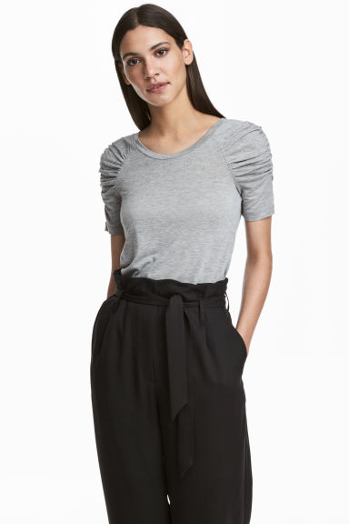 Top with puff sleeves - Grey marl - Ladies | H&M CN 1