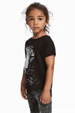 Jersey Top with Printed Motif - Black/leopard - Kids | H&M CA 1