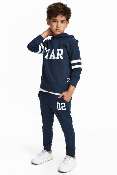 Hooded top and joggers - Dark blue -  | H&M