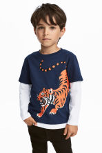 平紋上衣 - Dark blue/Tiger - Kids | H&M 1