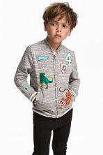 Bomber jacket with appliqués - Grey - Kids | H&M CN 1