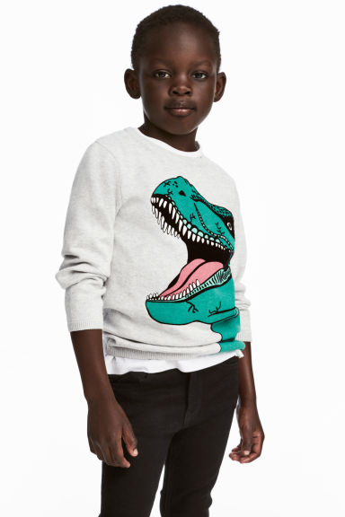 Fine-knit printed jumper - Light grey/Dinosaur -  | H&M 1