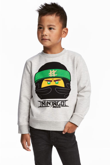 Sweat avec impression - Gris clair chiné/Ninjago -  | H&M FR