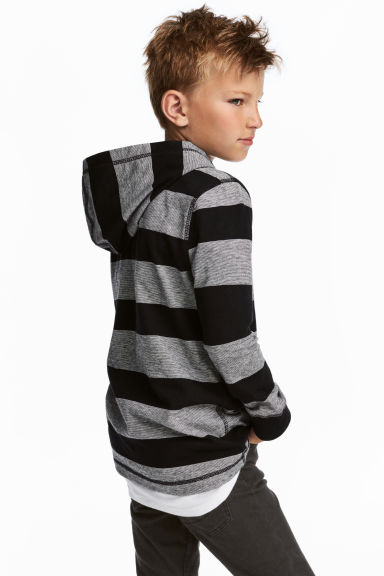 平紋連帽上衣 - Black/Grey/Striped -  | H&M 1