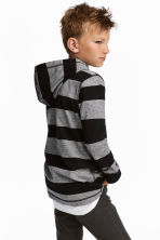Jersey hooded top - Black/Grey/Striped -  | H&M CN 1