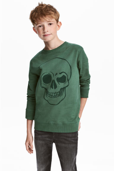Printed sweatshirt - Green/Skull - Kids | H&M CN
