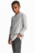 Fine-knit hooded jumper - Grey - Kids | H&M CN 1