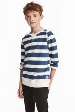 Cotton piqué top - Blue/White striped - Kids | H&M CN 1