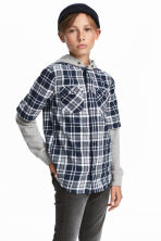 Hooded shirt - Dark blue/Checked -  | H&M 1