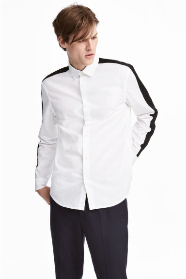 Shirt with sleeve stripes - White/Black -  | H&M