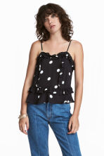 Flounced strappy top - Black/White spotted - Ladies | H&M CN 1