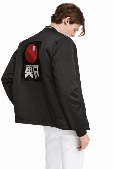 Bomber jacket with a motif - Black - Men | H&M
