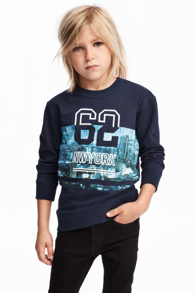 Printed sweatshirt - Dark blue - Kids | H&M 1