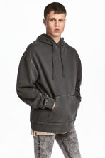 Washed hooded top - Dark grey - Men | H&M 1
