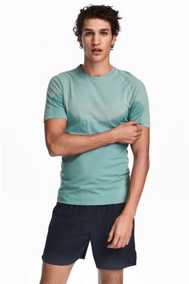Seamless running top - Mint green - Men | H&M