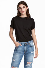 Tricot T-shirt - Zwart - DAMES | H&M BE 1