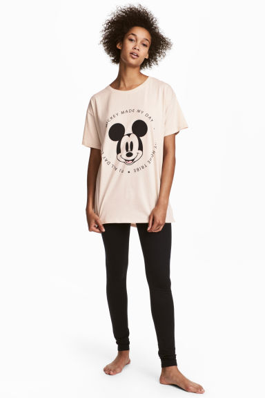 Pyjama top and leggings - Light beige/Mickey Mouse - Ladies | H&M CN 1