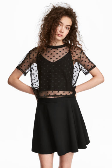 Top corto in tulle - Nero/pois - DONNA | H&M IT 1