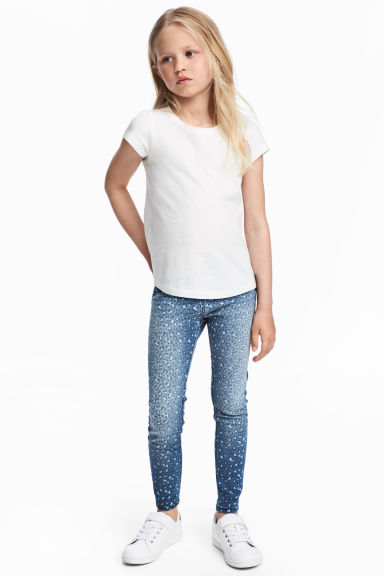 Patterned denim leggings - Blue -  | H&M 1