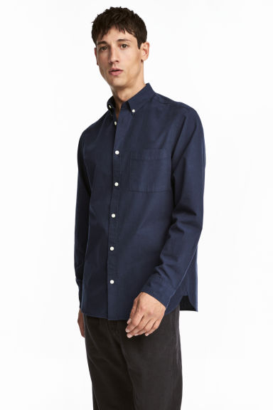 Cotton shirt Regular fit - Dark blue - Men | H&M 1