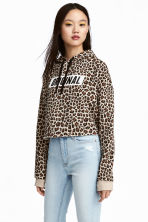 Cropped hooded top - Beige/Leopard print - Ladies | H&M 1