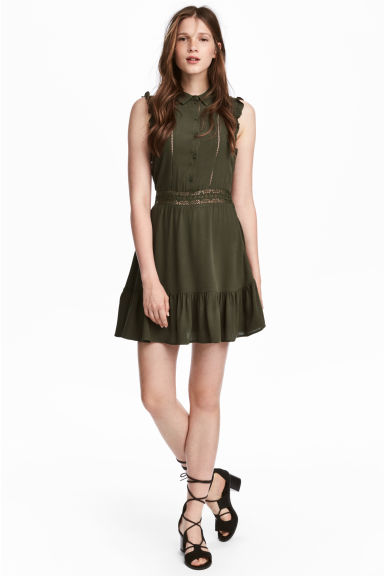 Lace-trim dress - Dark khaki green - Ladies | H&M 1