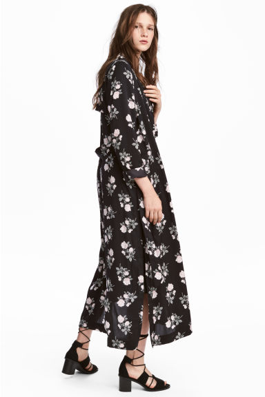 Long satin coat - Black/Floral - Ladies | H&M 1