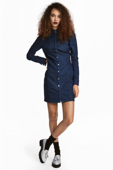 Fitted shirt dress - Dark denim blue - Ladies | H&M
