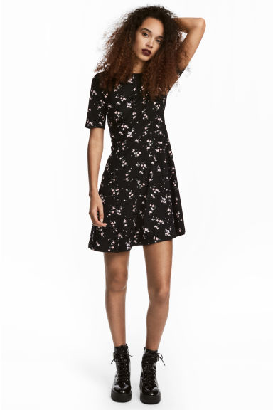 Jersey dress - Black/Floral - Ladies | H&M IE