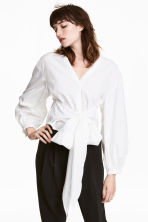 Tie-detail cotton blouse - White - Ladies | H&M 1