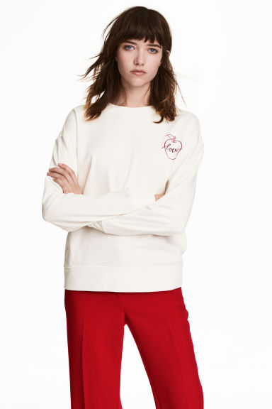 Sweat-shirt avec application - Blanc - FEMME | H&M BE