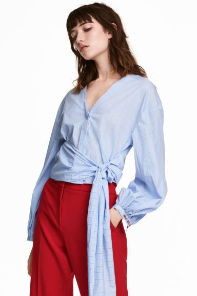Tie-detail cotton blouse - Light blue/Red striped - Ladies | H&M CN