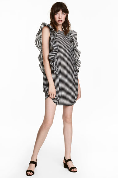 Frilled dress - Black/White checked -  | H&M