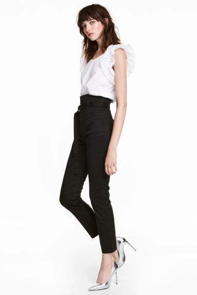 Twill trousers with a belt - Black - Ladies | H&M CN