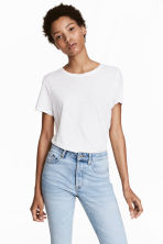 Cotton T-shirt - White - Ladies | H&M 1
