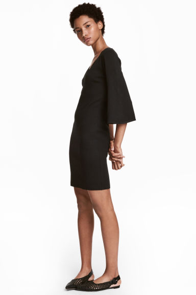 Fine-knit dress - Black - Ladies | H&M GB