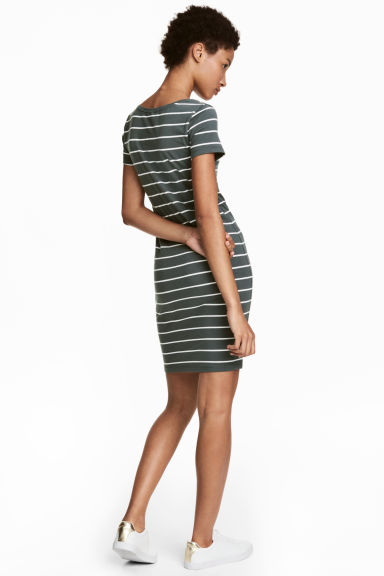 Short jersey dress - Grey-green/Striped - Ladies | H&M 1