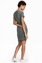 Short jersey dress - Grey-green/White striped - Ladies | H&M 1
